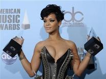 <p>Singer Rihanna poses with her awards for favorite female artist in the pop/rock and the soul/R&B categories at the 2008 American Music Awards in Los Angeles November 23, 2008. REUTERS/Phil McCarten</p>