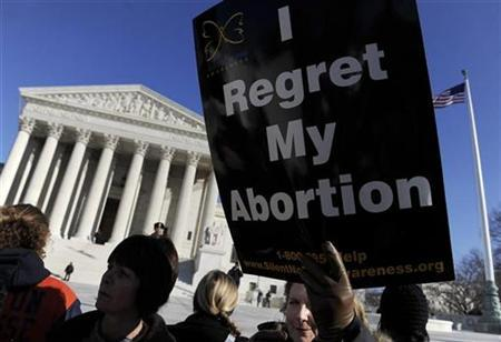 An anti-abortion protestor holds a sign in front of the US Supreme Court building during the March for Life in Washington, January 22, 2009. REUTERS/Jonathan Ernst