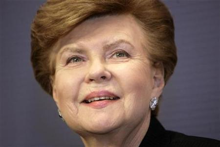 Former Latvian President Vaira Vike-Freiberga attends a news conference in Riga November 16, 2009. The Latvia's government on Monday officially endorsed Vaira Vike-Freiberga's bid for the post of EU president. REUTERS/Ints Kalnins
