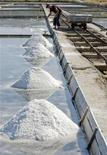 <p>A worker harvests sea salt in the Secovlje Soline salt plant July 30, 2009. REUTERS/Tina Kosec</p>