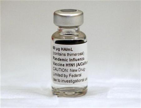 A vial of an experimental H1N1 swine flu vaccine is shown during early trials with medical volunteers at the University of Maryland in Baltimore, August 10, 2009. REUTERS/Jason Reed