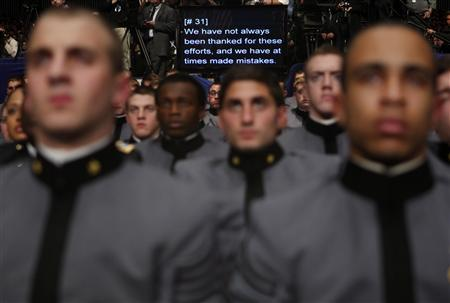 Cadets at the U.S. Military Academy listen to remarks by U.S. President Barack Obama in West Point, New York, December 1, 2009. REUTERS/Jim Young