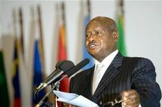 <p>Uganda's President Yoweri Museveni addresses delegates during the opening ceremony of the African Union Summit on Refugees, Returnees and Internally Displaced Persons in Africa on the outskirts of Kampala October 22, 2009. REUTERS/James Akena</p>