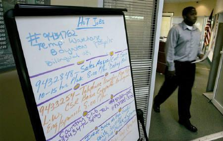 Jobs are listed on a board at a Workforce Alliance Career Center in Boynton Beach, Florida October 2, 2009. The recession has slashed U.S. output of planet warming gases and puts the country on track to reach President Barack Obama's short-term emissions goal. REUTERS/Joe Skipper/Files