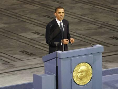 Nobel Peace Prize laureate U.S. President Barack Obama delivers the Nobel Lecture during the Nobel Peace Prize award ceremony in Oslo City Hall December 10, 2009. REUTERS/Kevin Lamarque