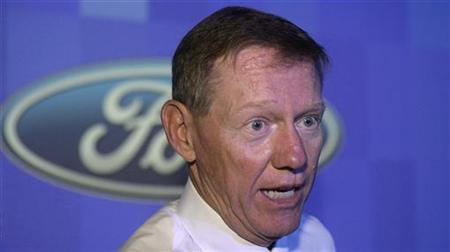 Ford Motor Co President and Chief Executive Officer Alan Mulally speaks during the launch ceremony of Ford's 'Figo' car in New Delhi September 23, 2009 file photo. REUTERS/B Mathur