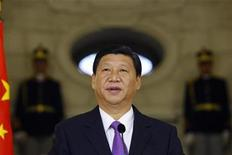 <p>Chinese Vice President Xi Jinping delivers a speech during a joint media briefing with Romania's President Traian Basescu (unseen) at Cotroceni presidential palace in Bucharest October 19, 2009. REUTERS/Bogdan Cristel</p>