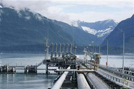 A mooring station for oil tankers can be seen at the Trans-Alaska Pipeline Marine Terminal in Valdez, Alaska on August 8, 2008. REUTERS/Lucas Jackson