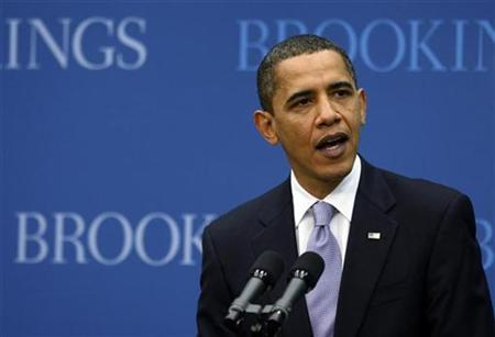 President Barack Obama delivers a speech on the economy at the Brookings Institution in Washington, December 8, 2009. REUTERS/Jason Reed