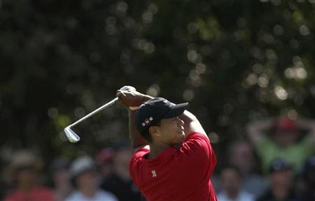 Tiger Woods of the U.S. plays an approach shot on the 17th hole in the final round of the Australian Masters golf tournament in Melbourne in this November 15, 2009 file photo. REUTERS/Mick Tsikas