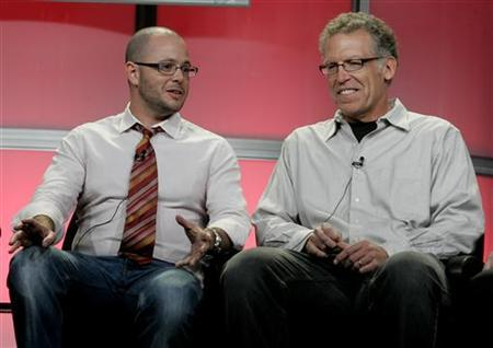 Damon Lindelof (L) and Carlton Cuse, executive producers of ''Lost'' take part in the Show Runner panel at the Disney ABC Television Group summer press tour in Beverly Hills, California July 17, 2008. REUTERS/Fred Prouser