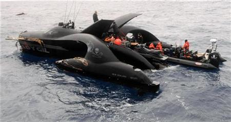 The damaged powerboat Ady Gil, which belongs to the Sea Shepherd Conservation Society, floats after a collision with the Japanese ship Shonan Maru No. 2 in the Southern Ocean January 6, 2010. REUTERS/Sea Shepherd/JoAnne McArthur/Handout