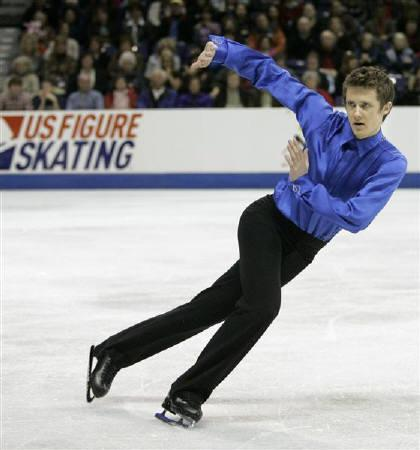 U.S. skater Jeremy Abbott performs during his first place during the championship men's free skate at the U.S. Figure Skating Championships in Spokane, Washington January 17, 2010. Abbott successfully defended his United States figure skating title on Sunday to book his ticket to the next month's Vancouver Winter Olympics. REUTERS/Robert Galbraith