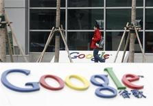 <p>20 gennaio 2010. Logo di Google davanti al quartier generale a Pechino. REUTERS/Barry Huang</p>