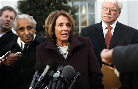 Speaker of the House Nancy Pelosi talks to reporters about healthcare after a meeting with President Obama at the White House, January 6, 2010. REUTERS/Kevin Lamarque