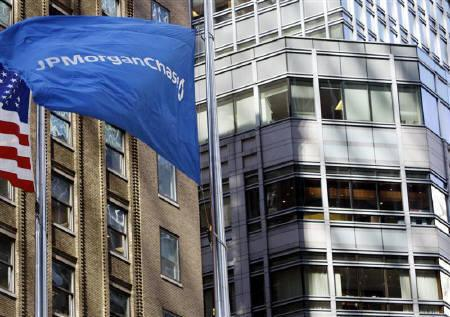 The wind blows the JPMorgan Chase flag outside its building in New York, March 17, 2008. JPMorgan expects share sales in India to reach as much as $30 billion in 2010, a 50 percent increase, led by government stake sales and IPOs by power and property firms, its India investment banking head said. REUTERS/Chip East/Files