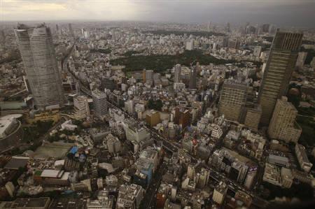 1月26日、S&Pが日本の外貨建て・自国通貨建ての長期ソブリン格付けのアウトルックを安定的からネガティブに変更。写真は昨年8月、都内上空で(2010年 ロイター/Yuriko Nakao)
