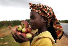 <p>A girl selling apples by the roadside waits for customers outside the Angolan city of Lubango in this January 15, 2010 file photo. REUTERS/Finbarr O'Reilly</p>