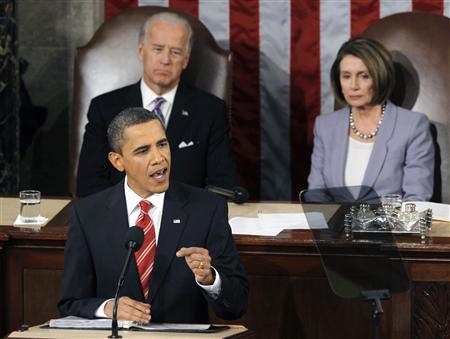 President Barack Obama (below) makes a point as U.S. Vice President Joe Biden and U.S. Speaker of the House Nancy Pelosi look on during his first State of the Union Address on Capitol Hill in Washington January 27, 2010. REUTERS/Jason Reed