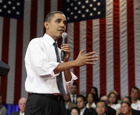 U.S. President Barack Obama holds a town hall meeting at the University of Tampa Bob Martinez Sports Center in Tampa, Florida, January 28, 2010. REUTERS/Larry Downing
