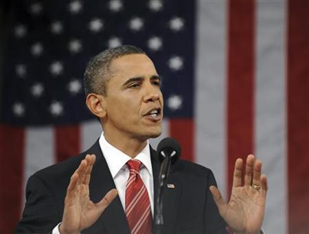 President Barack Obama delivers his first State of the Union address on Capitol Hill in Washington, January 27, 2010. REUTERS/Tim Sloan/Pool