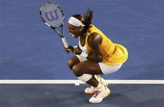 <p>Serena Williams comemora vitória no Aberto da Austrália. REUTERS/David Gray</p>