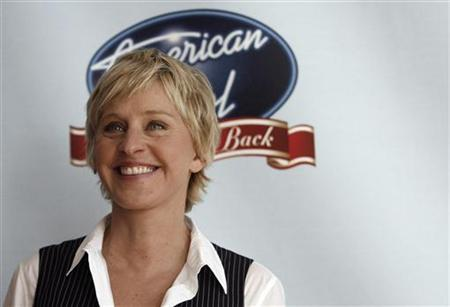 Host Ellen DeGeneres poses before the ''Idol Gives Back'' show at the Walt Disney Concert Hall in Los Angeles April 25, 2007. REUTERS/Mario Anzuoni