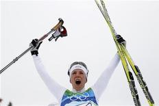 <p>Charlotte Kalla oggi dopo la vittoria. REUTERS/Stefan Wermuth (CANADA)</p>