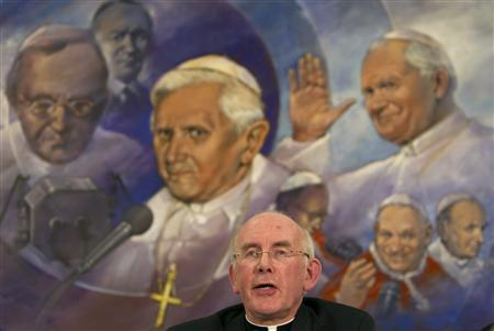 Head of the Irish Bishops Conference Cardinal Sean Brady speaks during a news conference at the Vatican following a two-day meeting with Pope Benedict XVI February 16, 2010. REUTERS/Max Rossi