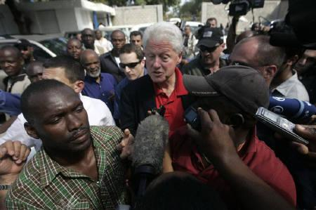 Former U.S. President Bill Clinton, now U.N. special envoy to Haiti, talks to the media in Port-au-Prince February 5, 2010. REUTERS/United Nations/Sophie Paris