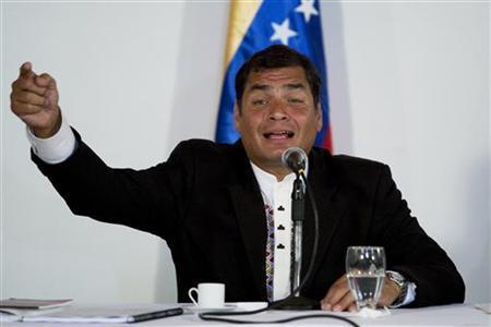 Ecuador's President Rafael Correa talks to media during a news conference with Venezuela's President Hugo Chavez in Caracas in this October 7, 2009 file photo. REUTERS/Carlos Garcia Rawlins