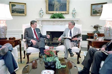 President Reagan and Alexander Haig during a meeting in the Oval Office to discuss the Falkland Island situation, April 20, 1982. REUTERS/Ronald Reagan Library/Handout