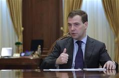 <p>Dmitry Medvedev, presidente russo, durante il discorso in cui ha richiesto le dimissioni dei dirigenti sportivi russi. REUTERS/Ria Novosti/Kremlin/Dmitry Astakhov</p>