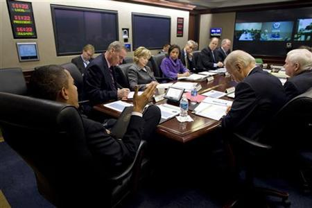 President Barack Obama meets his national security team on Afghanistan and Pakistan in the Situation Room of the White House in Washington in this February 17, 2010 file photo. REUTERS/The White House Photo/Pete Souza/Handout