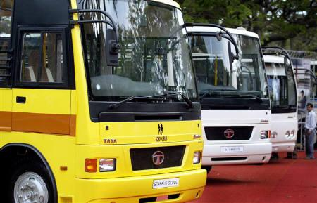Tata Motors buses on display in Mumbai, March 7, 2005. Tata Sons, the holding entity for Tata Group firms, and Citigroup have acquired 8.65 million shares in Tata Motors from Germany's Daimler AG according to data on the Bombay Stock Exchange website. REUTERS/Punit Paranjpe/Files