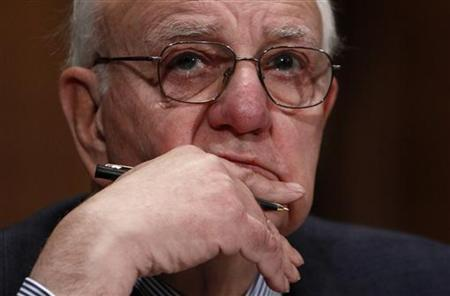 Chairman of the President's Economic Recovery Advisory Board Paul Volcker listens during his testimony before the U.S. Senate Banking, Housing, and Urban Affairs Committee on Capitol Hill in Washington February 2, 2010. REUTERS/Jim Young