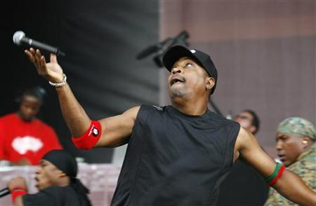 Musician Carlton ''Chuck D'' Ridenhour performs with ''Public Enemy'' during the Rock The Bells Festival in New York in this July 28, 2007 file photo. REUTERS/Lucas Jackson