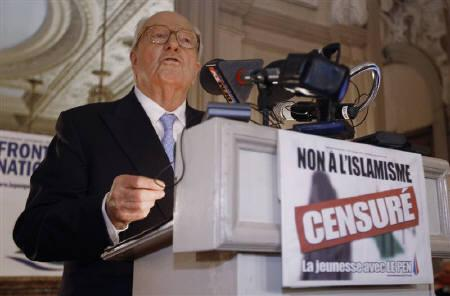 Jean-Marie Le Pen, far-right National Front leader and Alpes-Maritimes region candidate, reacts after the result of the first round of regional elections in Nice March 14, 2010. REUTERS/Eric Gaillard