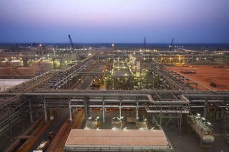 Reliance Industries' KG-D6 facility located in Andhra Pradesh is pictured in this undated handout photo. REUTERS/Reliance Industries/Handout