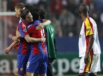 <p>Jogadores do CSKA Moscou comemoram vitória sobre o Sevilla na Liga dos Campeões. REUTERS/Marcelo Del Pozo</p>