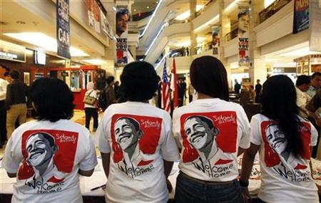 Supporters of President Barack Obama gather for a party to welcome him at Fabulous Bellagio Mall in Jakarta March 17, 2010. The words on the T-shirts read: ''Welcome''. REUTERS/Crack Palinggi