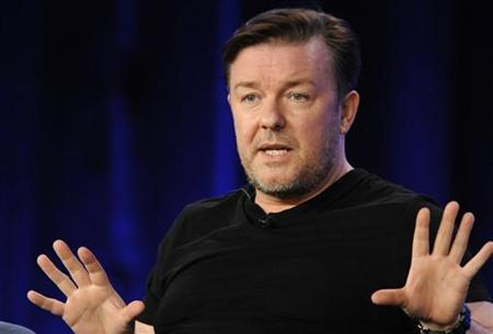 Executive producer Ricky Gervais answers a question during a panel for HBO's ''The Ricky Gervais Show'' at the HBO sessions of the Television Critics Association winter press tour in Pasadena, California January 14, 2010. REUTERS/Phil McCarten
