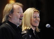 <p>Rock and Roll Hall of Fame inductees from Abba Anni-Frid Lyngstad (R) smiles as Benny Andersson speaks backstage during the 25th annual Rock and Roll Hall of Fame induction ceremony at the Waldorf Astoria Hotel in New York, March 15, 2010. REUTERS/Shannon Stapleton</p>