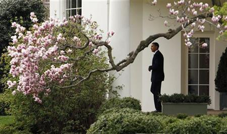 President Barack Obama departs the White House in Washington for a weekend at Camp David, Maryland March 26, 2010. REUTERS/Kevin Lamarque