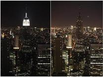 """<p>Imagen del edificio Empire State que muestra el antes y el durante de la """"Hora del Planeta Tierra"""", en Nueva York. Mar 27 2010. Edificios como la Opera House de Sidney, la Ciudad Prohibida de Pekín y la torre 101 de Taipei quedaron a oscuras el sábado cuando los países apagaron las luces para la Hora de la Tierra 2010, en un llamado de acción contra el cambio climático. REUTERS/Jessica Rinaldi</p>"""