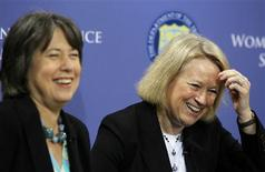 "<p>Federal Deposit Insurance Corporation Chairman Sheila Bair (L) and Securities and Exchange Commission Chairman Mary Schapiro laugh during a panel at the ""Women in Finance"" Symposium at the Treasury Department in Washington, March 29, 2010. REUTERS/Jason Reed</p>"
