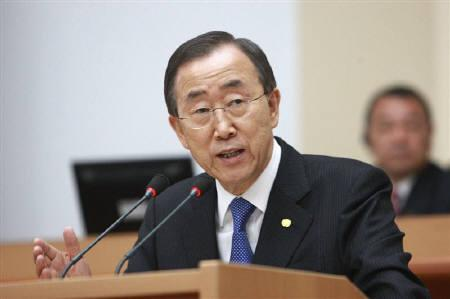 U.N. Secretary-General Ban Ki-moon  in Bishkek April 3, 2010. Ban Ki-moon urged Uzbekistan on Monday to improve its human rights record, saying it was time for the ex-Soviet republic to show the world it was serious about delivering on its promises. REUTERS/Vladimir Pirogov