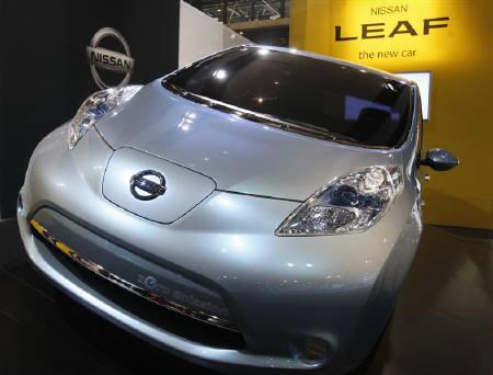 The Nissan Leaf is on display at the New York International Auto Show in New York April 1, 2010. REUTERS/Jessica Rinaldi