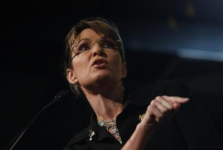 Former Alaska Governor and vice presidential candidate Sarah Palin speaks during a campaign rally for Senator John McCain at Dobson High School in Mesa, Arizona March 27, 2010. REUTERS/Joshua Lott