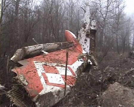 Image from video footage shows part of the tail of a Polish government Tupolev Tu-154 aircraft after it crashed near Smolensk airport in western Russia April 10, 2010. REUTERS/TVP via Reuters TV